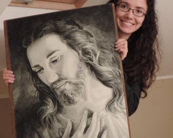 340x270 Jesus Pencil Drawing Etsy