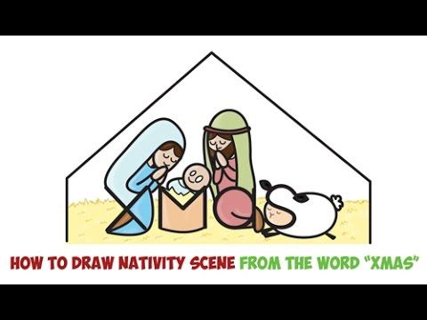480x360 How To Draw Cartoon Nativity Scene With Mary, Jesus, And Joseph