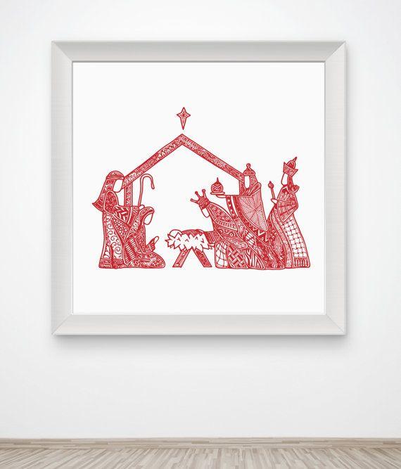 570x667 Nativity Manger Art Print Christmas Jesus Christ Creche Zentangle