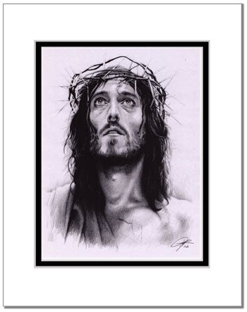 350x443 Jesus Christ Sketch Portrait, Charcoal Graphite Pencil