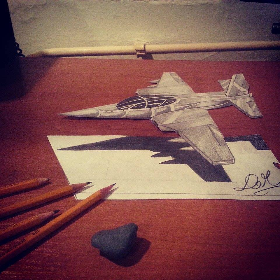 960x960 3d Illusion Drawing [Fighter Jet