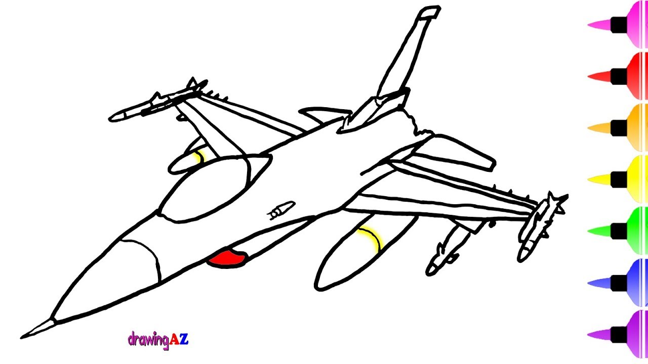 1280x720 Fighter Jet Toys Coloring Pages For Kids Amp Dinosaur, Shark  Drawing