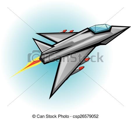 450x408 Flying Jet Fighter With Missile. Vector Illustration Of War