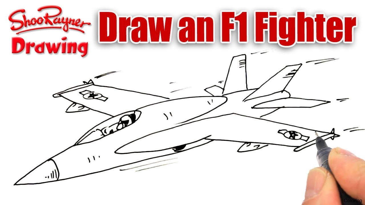1280x720 Coloring Fighter Plane How To Draw A Jet 12f Ski Step By Jetpack