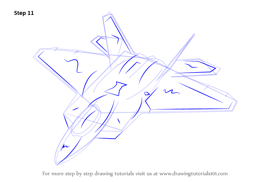 845x598 Learn How To Draw Lockheed Martin F 22 Raptor (Fighter Jets) Step