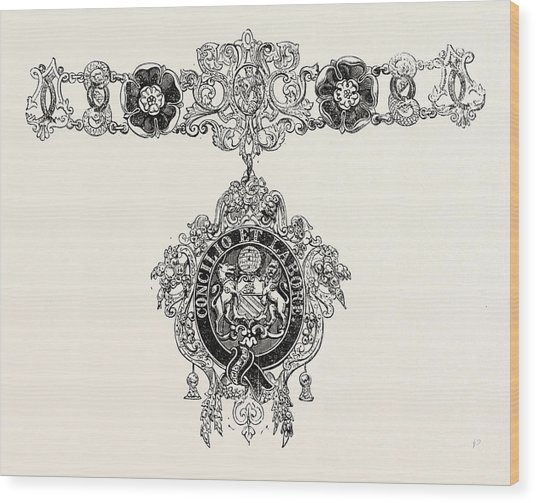 536x503 Collars And Jewel Of The Mayor Of Manchester Drawing By English School