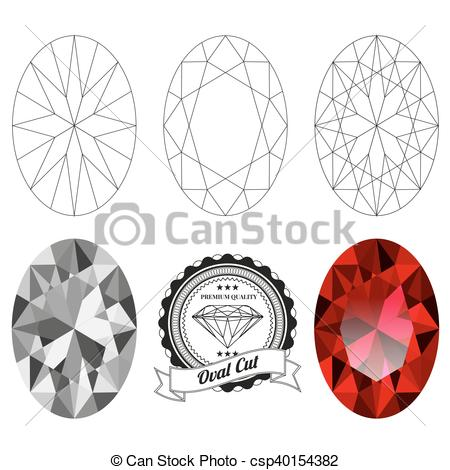 450x470 Set Of Oval Cut Jewel Views Isolated On White Background