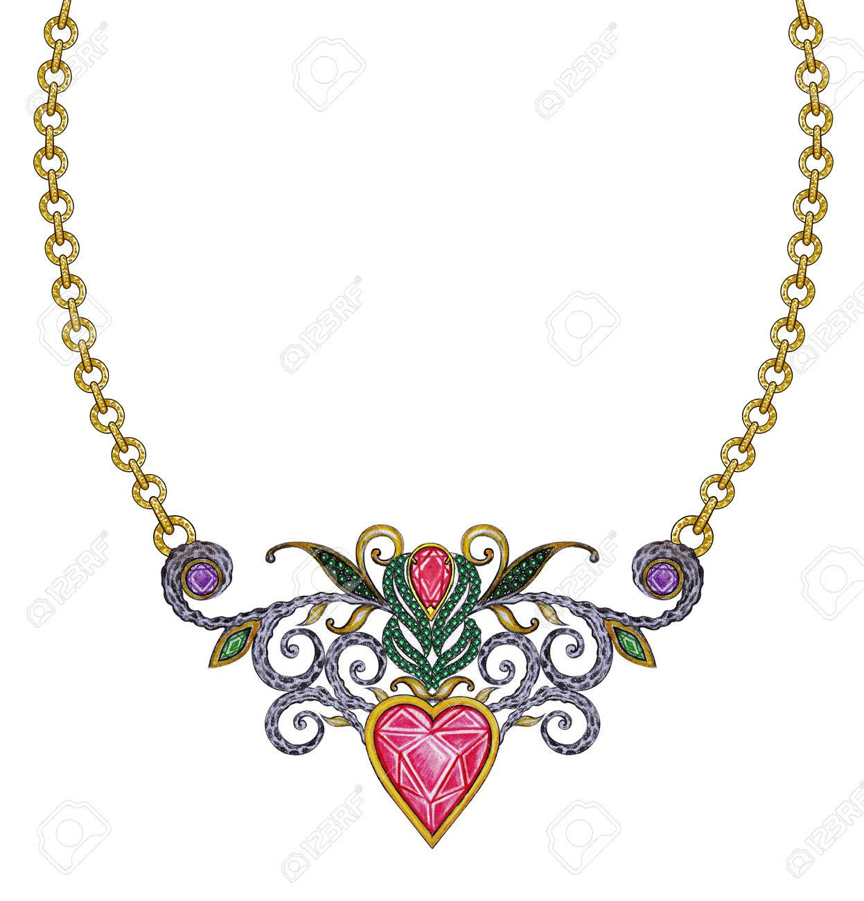 1247x1300 Jewelry Design Vintage Art Mix Heart Necklace. Hand Pencil Drawing