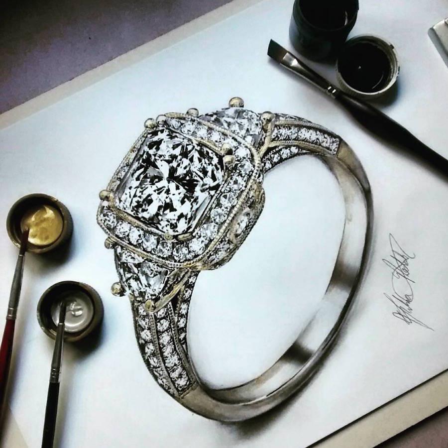 900x900 Hyper Realistic Jewellery Drawings Fubiz Media
