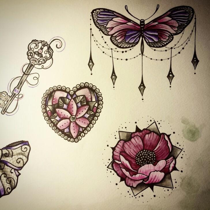 728x728 Butterfly Flower Jewels Draw Nina Tattoo Pink Purple Inked