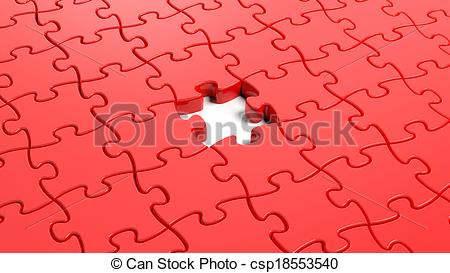 450x273 Jigsaw Puzzle Red Blank Template With One Piece Missing Drawing
