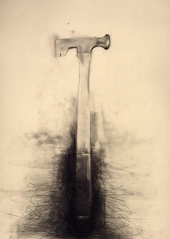 576x806 Jim Dine Untitled (Dry Wall Hammer) 1973 Graphite And Charcoal