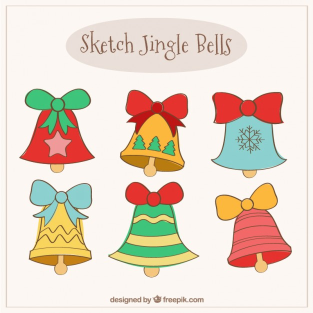 626x626 Drawn Jingle Bells Collection Vector Free Download