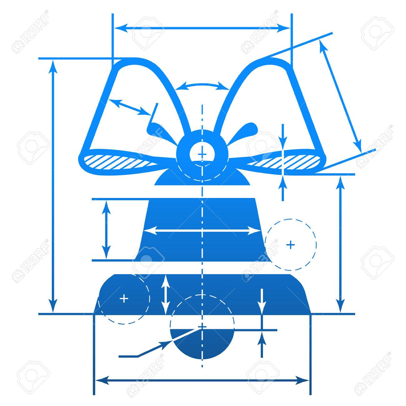 1300x1300 Christmas Bell With Dimension Lines. Element Of Blueprint Drawing