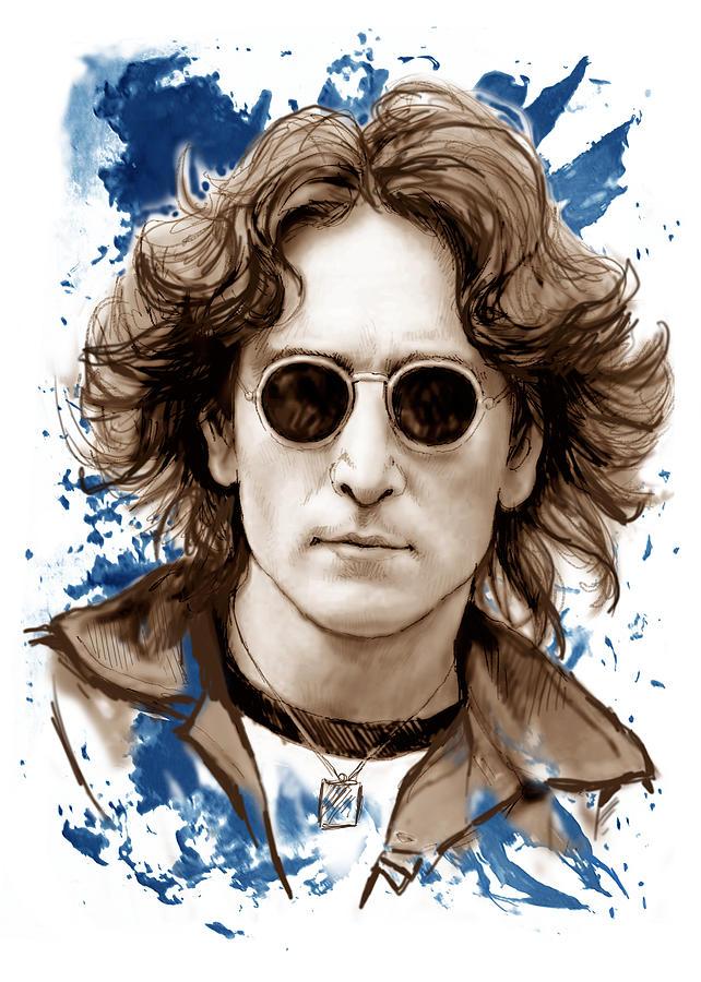 642x900 John Lennon Colour Drawing Art Poster Painting By Kim Wang