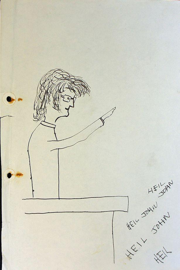 615x923 John Lennon Depicted Himself As Adolf Hitler In College Drawings