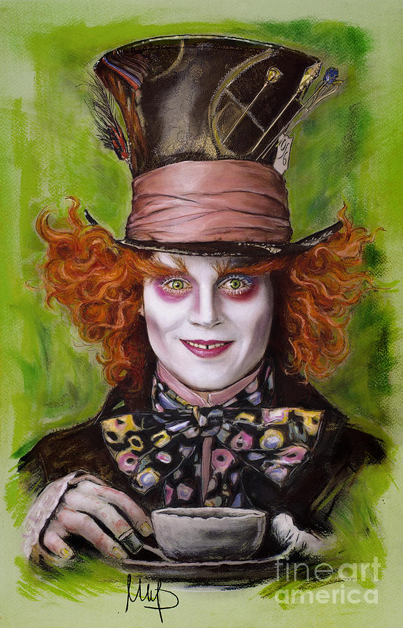 578x900 Johnny Depp As Mad Hatter Drawing By Melanie D