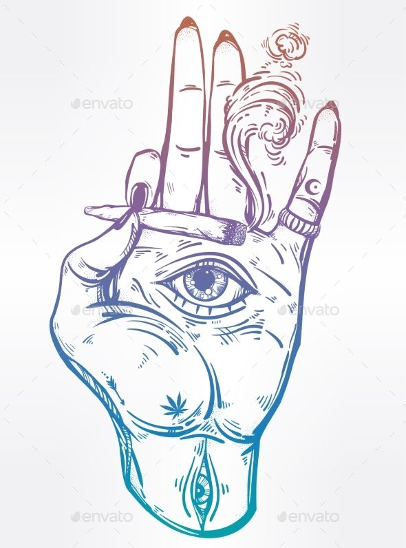590x796 Hand Holding A Joint Or Cigarette With An Eye Hand Holding