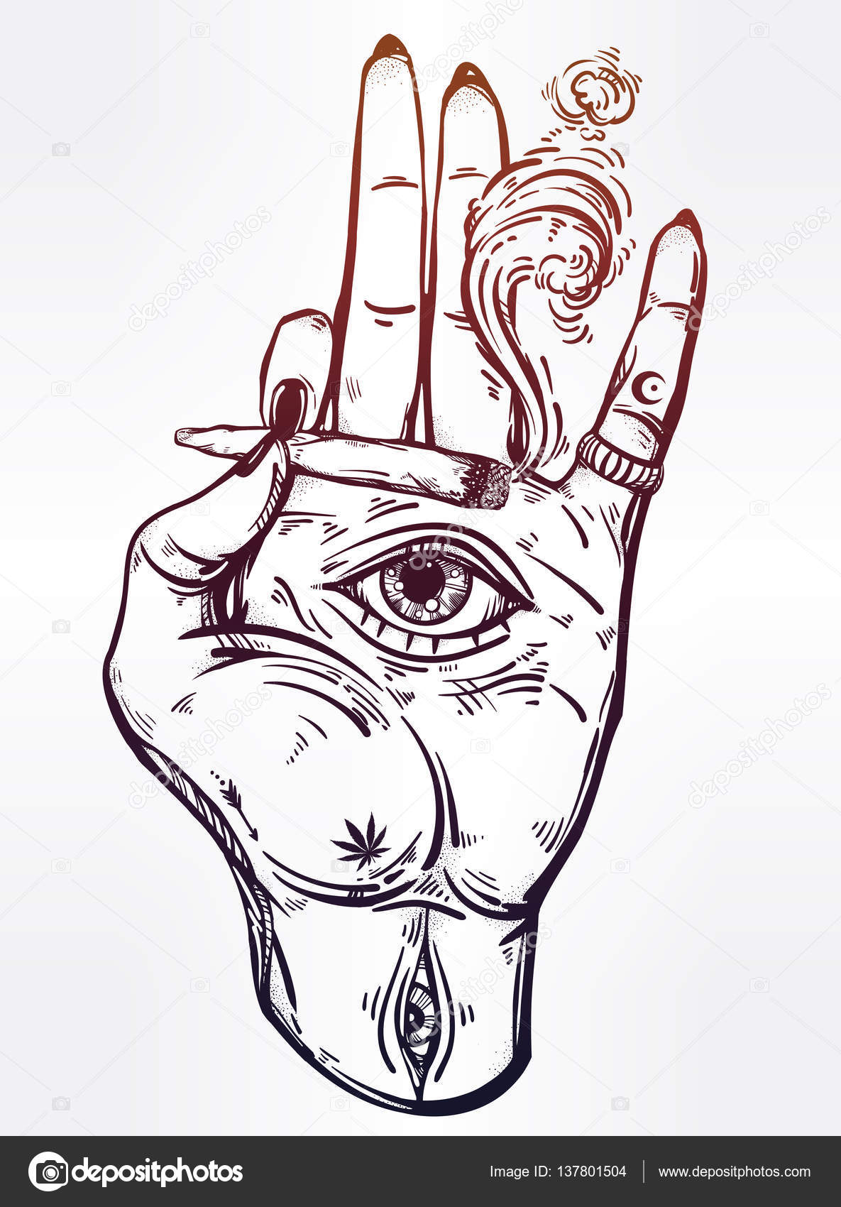 1185x1700 Hand Holding A Joint Or Cigarette With An Eye. Stock Vector