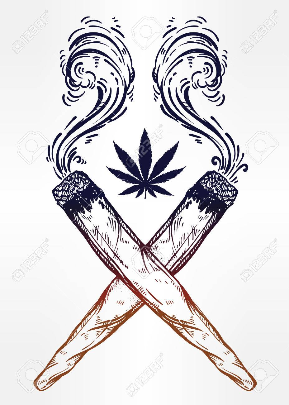 928x1300 Two Kinds Of Weed Joint Or Spliff Drawings. Royalty Free Cliparts