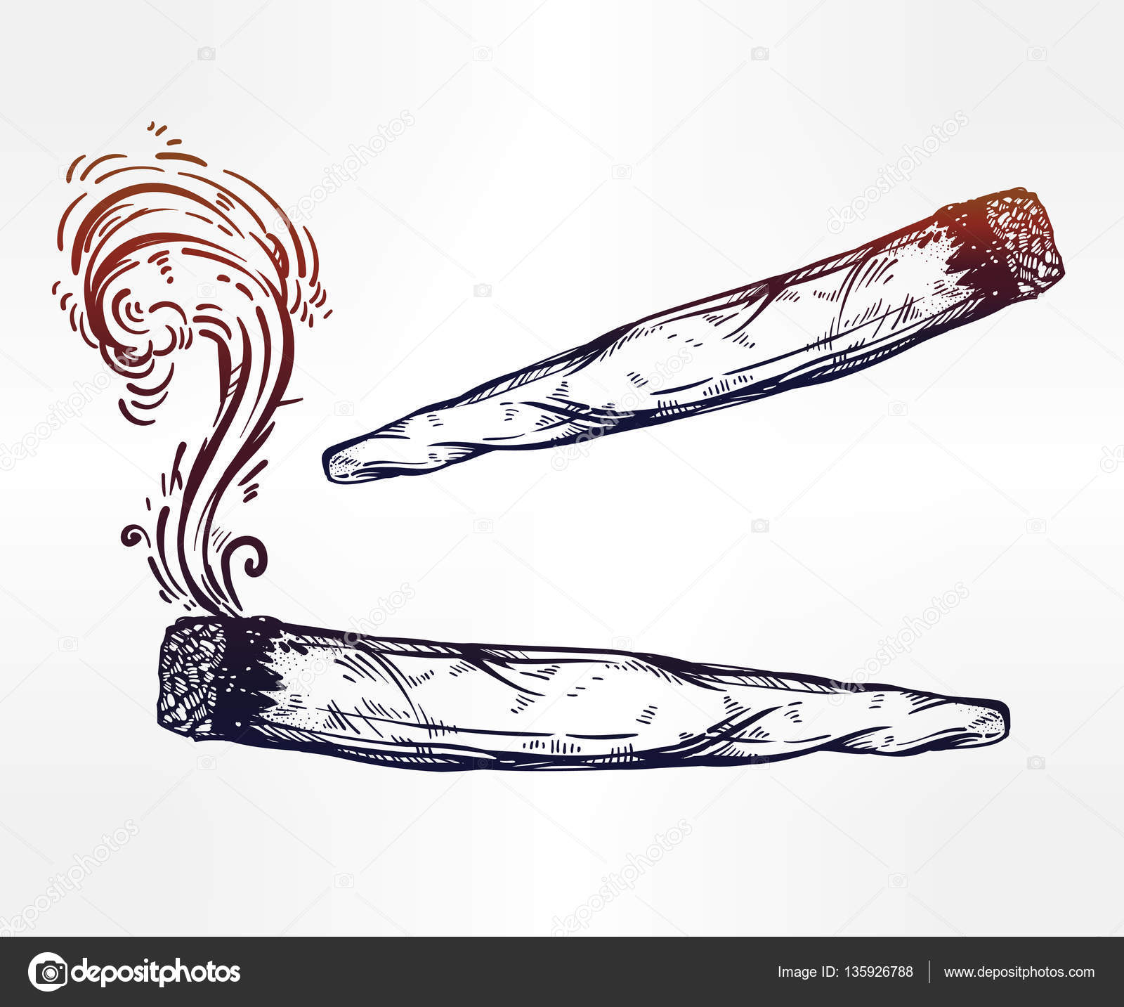 1600x1433 Two Kinds Of Weed Joint Or Spliff Drawings. Stock Vector