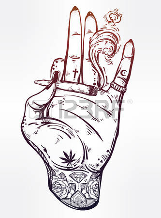 333x450 Art Dope Tattooed Hand With Weed Joint Or Cigarette. Dope