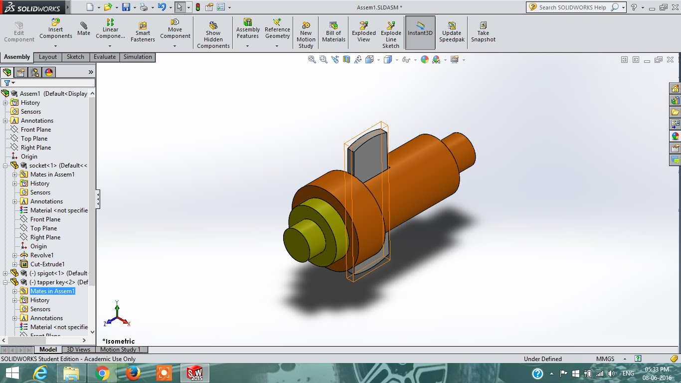 1366x768 Solidworks Tutorial Cotter Joint Part Drawing Assembly