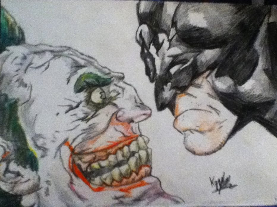 932x699 Batman And Joker Drawing By Griffami