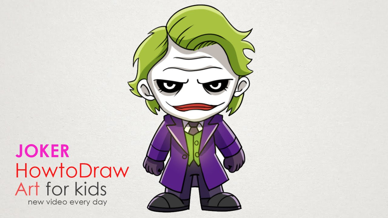 1280x720 Joker Cartoon Drawing How To Draw Joker Chibi Step By Step Drawing