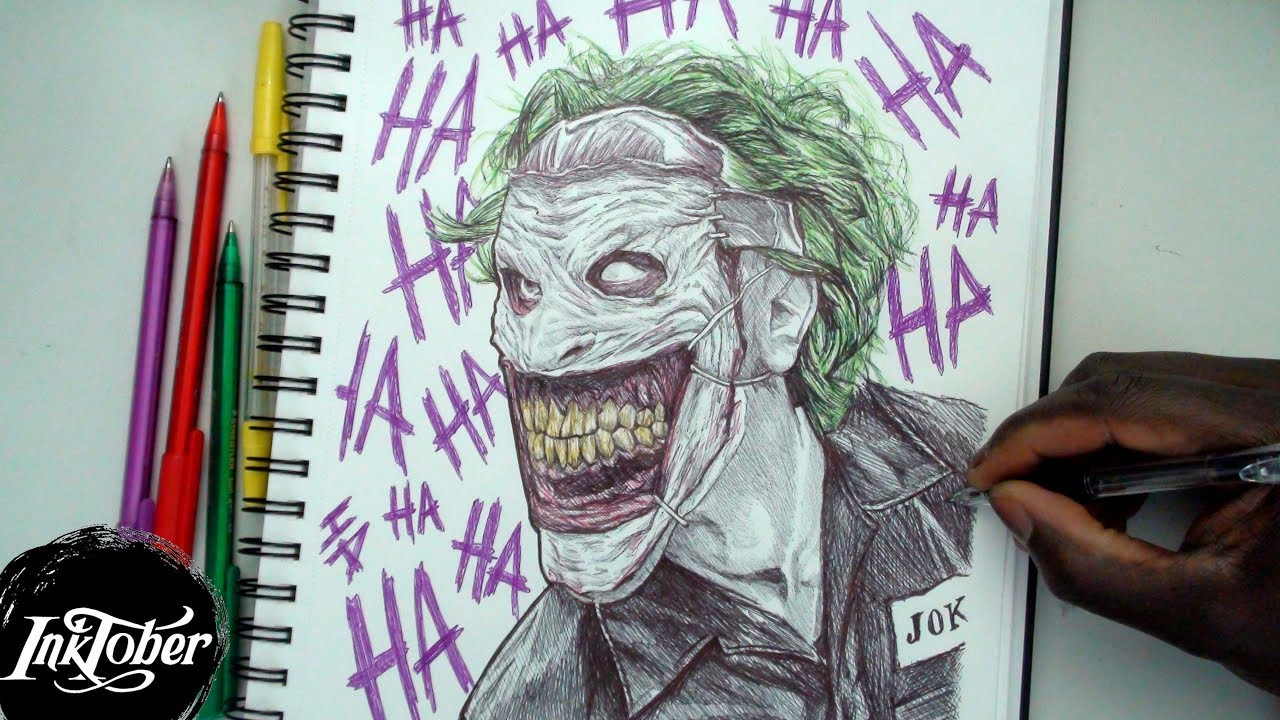 1280x720 The Joker (Comic Book) Pen Drawing