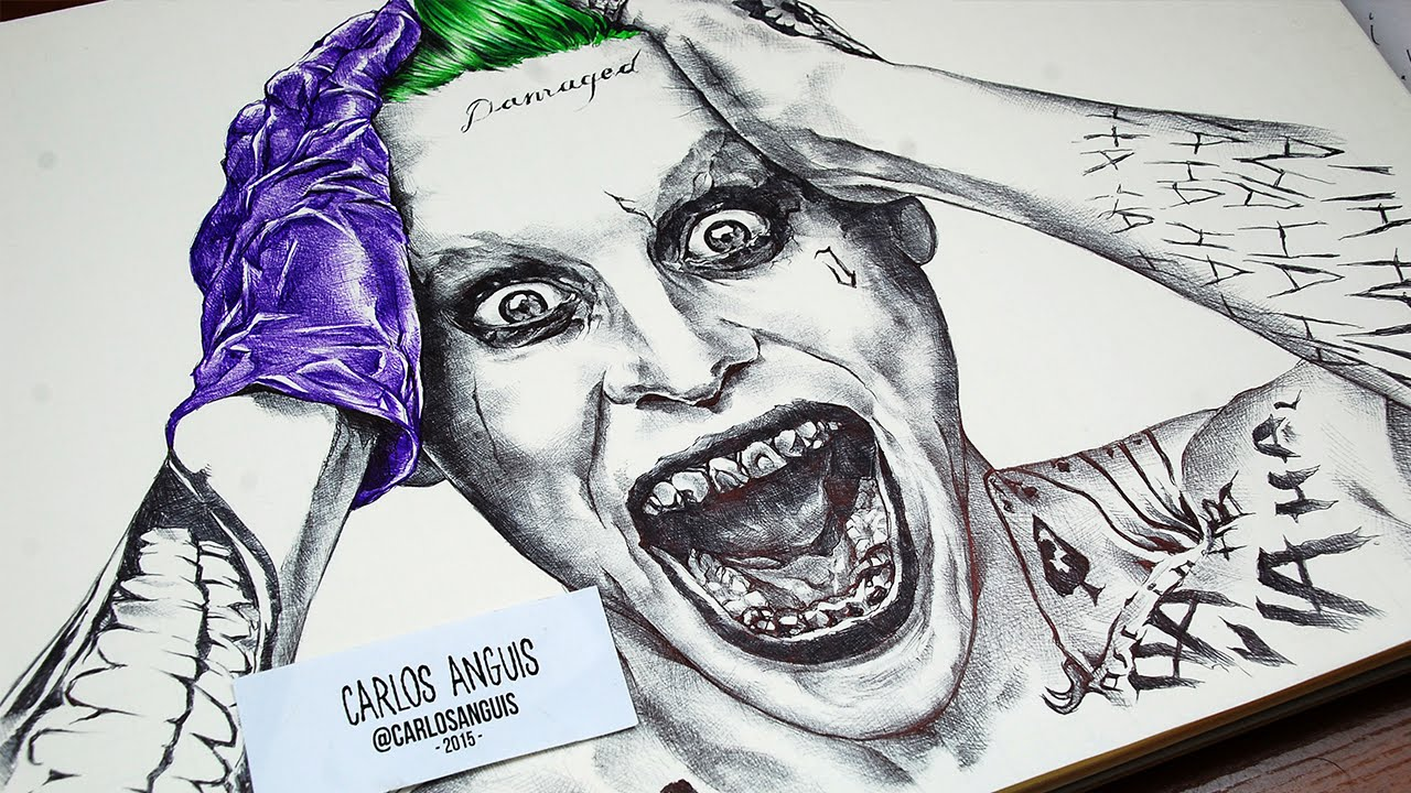1280x720 Drawing The Joker With Ballpoint Pen