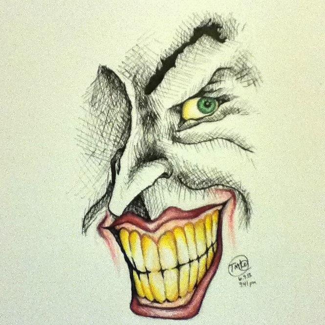 665x665 Joker Smile Drawing By Kinn12