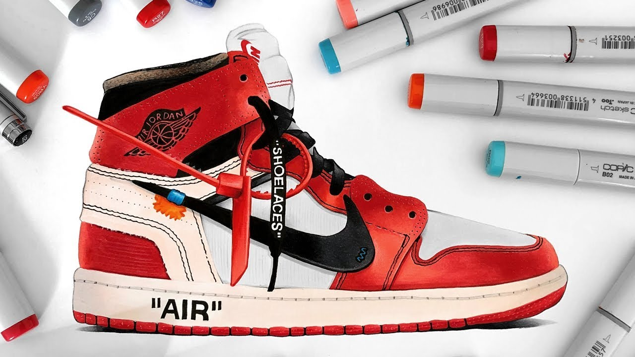 1280x720 Drawing Off White X Nike Air Jordan 1
