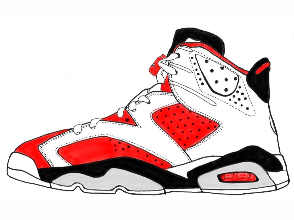 1024x768 Drawing Of Jordan Shoes