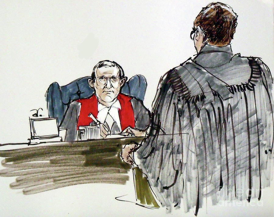 900x713 Judge And Lawyer Drawing By Armand Roy