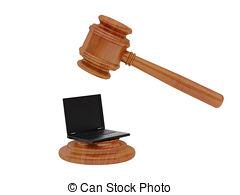240x195 Laptop Judge Gavel Mallet. A 3d Illustration Of Wooden Stock