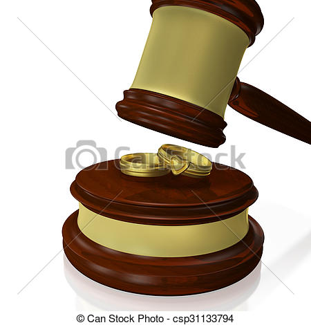 450x470 Wedding Rings Judge Gavel Mallet. A 3d Illustration Of A Stock