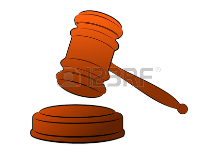 450x318 Wooden Judge's Gavel With A Golden Stripe Illustration. Royalty
