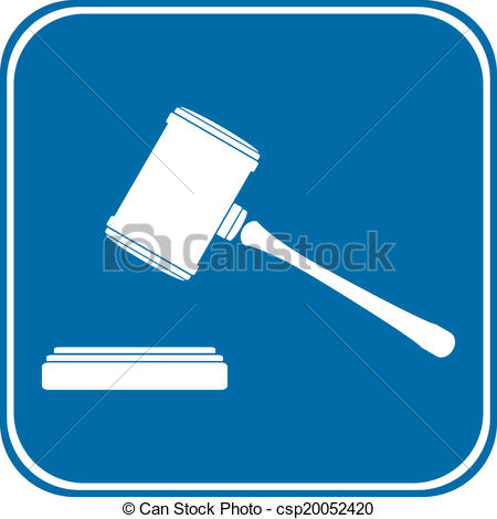 450x470 Judge Gavel Icon On White Background. Vector Illustration