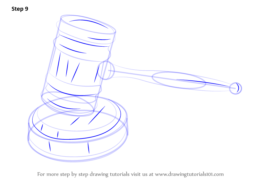 843x596 Learn How To Draw Judges Gavel (Everyday Objects) Step By Step