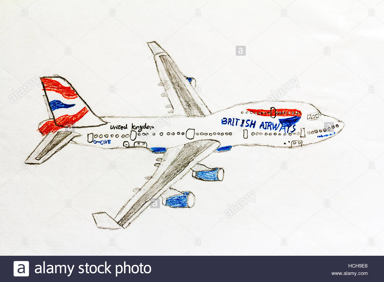 1300x956 Child's Colour Drawing Of A British Airways 747 Jumbo Jet Stock