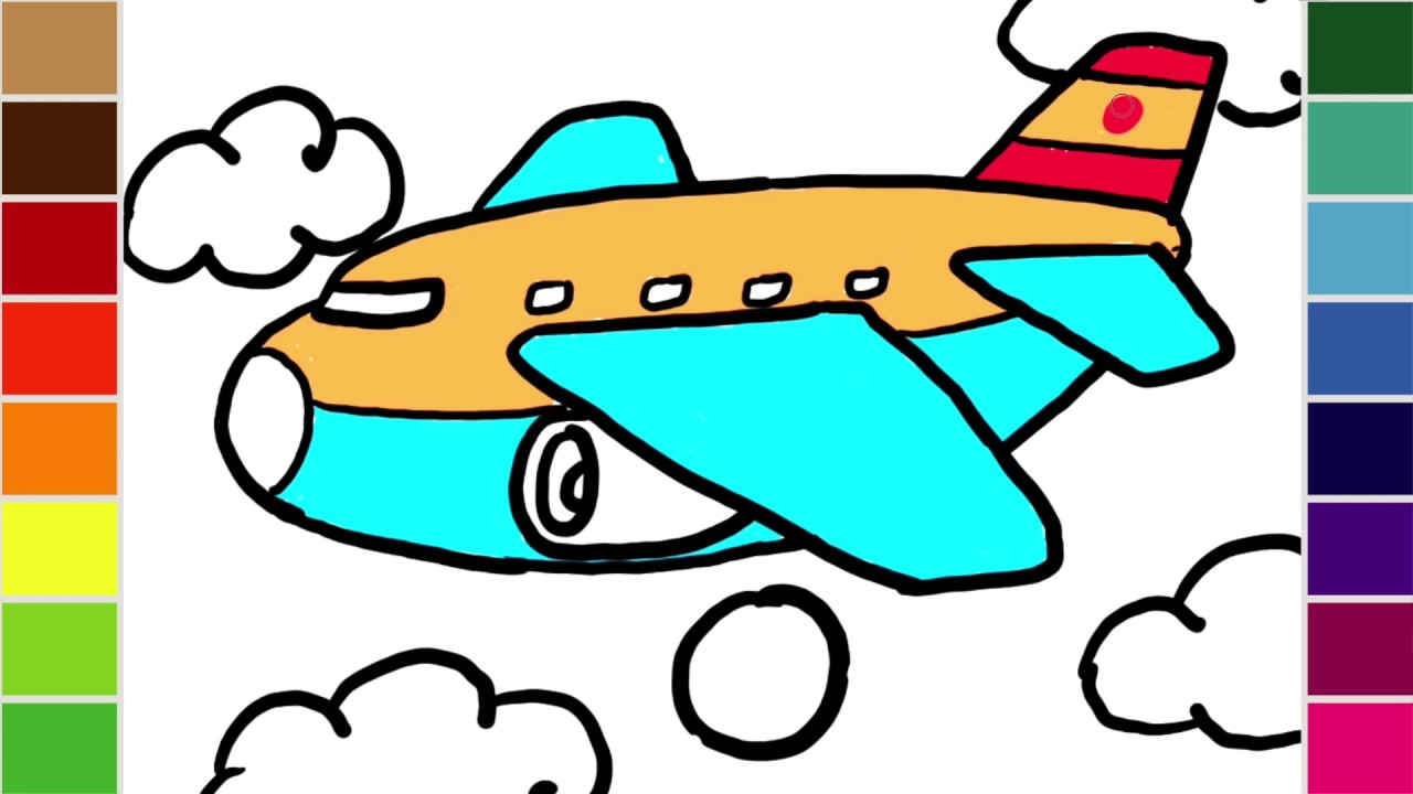 1280x720 How To Draw And Color And Passenger Jumbo Jet Airplane