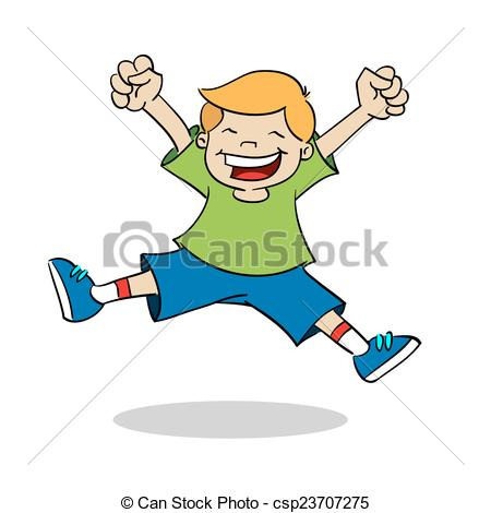 450x470 Boy Jumping While Smiling. A Happy Boy, Jumps In The Air Vectors