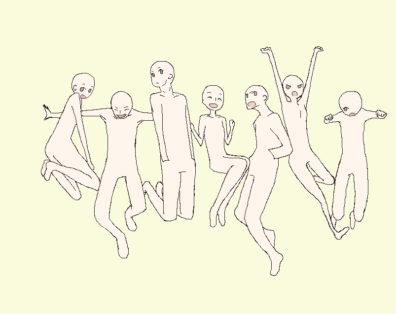 803x637 Group Jump Base Anime Body Reference, Drawing