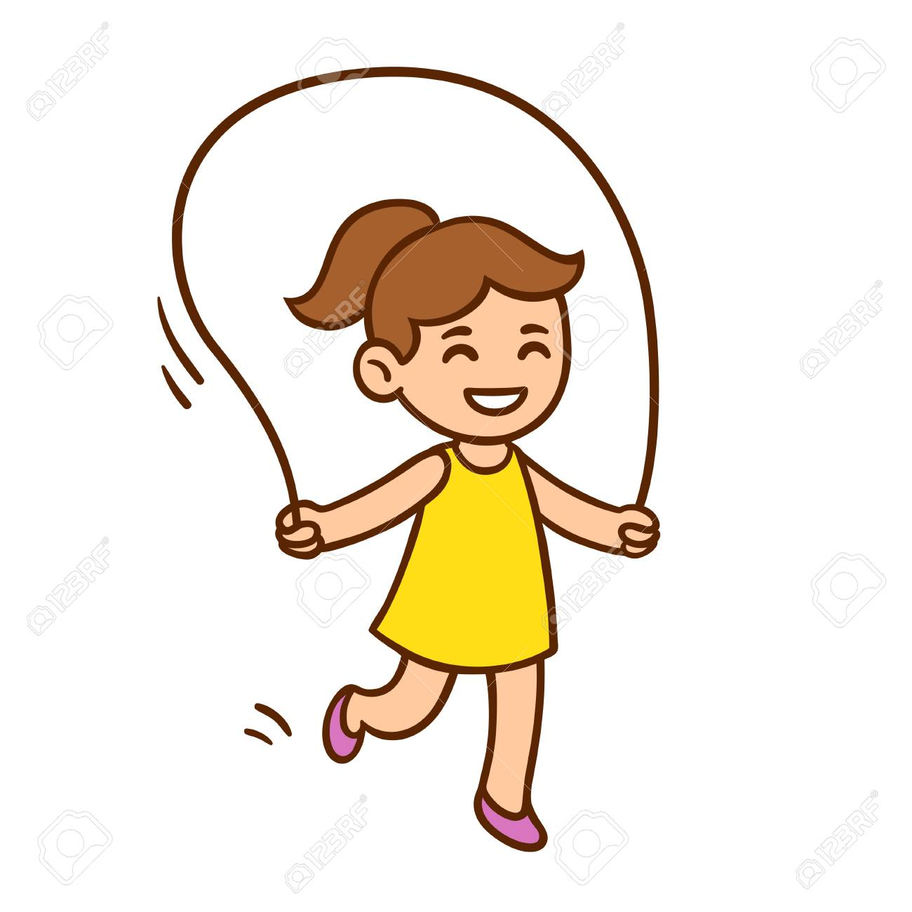 1300x1300 Vector Illustration Of Cute Cartoon Little Girl Jumping Rope