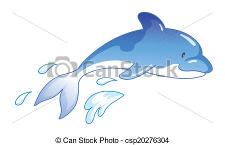 450x290 Cute Cartoon Dolphin Jumping Out Of Water Vector Clipart