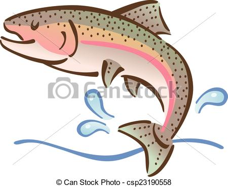 450x370 Jumping Fish. Illustration Of A Fish Jumping Out Of Water. Clipart