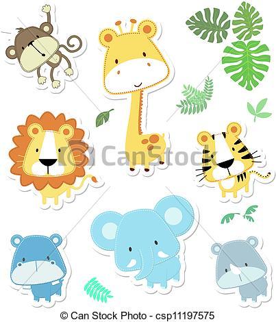 403x470 Cute Vector Animals. Vector Cartoon Illustration Of Seven