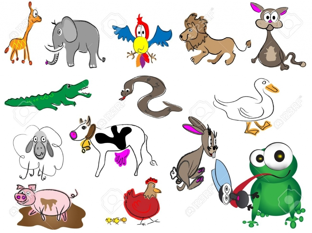 1024x767 Jungle Animals Drawing