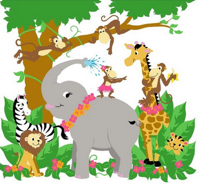 700x642 Jungle Hula Party From Paint By Number Wall Murals